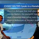 Johnny Walters interviews a homeless man